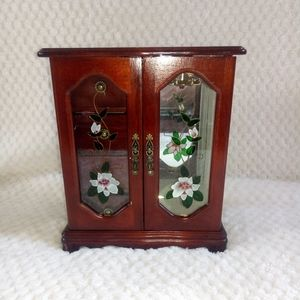Other - Jewelry box wood with flower glass design